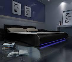 Schlafzimmer Bett Mit Led Kunstleder Bett Schwarz 180 X 200 Cm Mit Led Streifen
