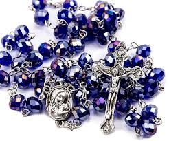 purple rosary purple blue crystals rosary catholic necklace holy soil