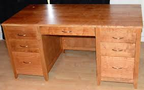 Executive Desk Solid Wood Tables Figured Solid Cherry Executive Desk Seven Drawer Full