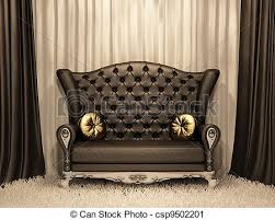 Luxury Leather Sofa Luxurious Leather Sofa With Pillows On The Curtain Clipart