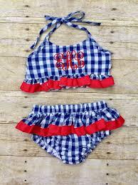 ribbon trim navy gingham 2 swimsuit w ribbon trim the