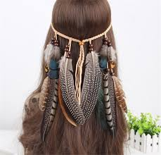 feather headband hippie indian feather headband boho weave feathers hair rope