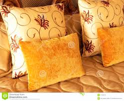 Gold Bed Cushions Beautiful Cushions On Bed Stock Photography Image 7132612