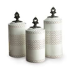 Ceramic Kitchen Canister Sets Amazon Com American Atelier Canisters White Set Of 3 Home