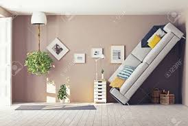 Home Inside Arch Model Design Image Strange Living Room Interior 3d Design Concept Stock Photo