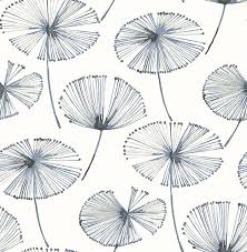 paradise navy fronds wallpaper contemporary wallpaper by