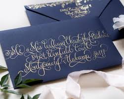 calligraphy wedding invitations regal navy and gold foil calligraphy wedding invitations