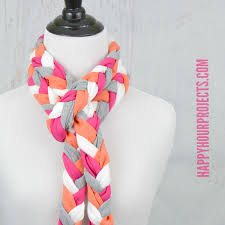 braided scarf recycled t shirt project no sew braided tassel scarf