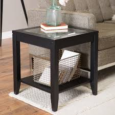 sutton glass top end table with slat bottom hayneedle