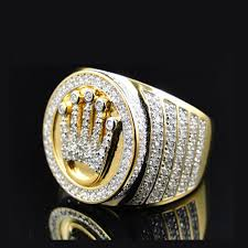 mens crown rings images High quality king 18k gold crown ring mens hip hop bling bling jpg