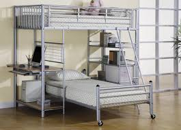 Wood And Metal Bunk Beds Bedroom L Shaped Metal Bunk Bed With Desk And Bookshelves White