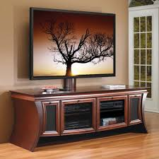 furniture brown wooden curved media cabinet with glass door and