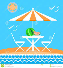 Beach Sun Umbrella Beach With Sun Umbrella Beach Chair And Clouds Summer Vacation
