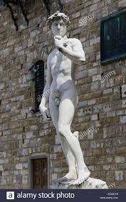 statue david by michelangelo in front palazzo vecchio in