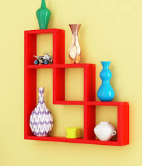 snapdeal home decor home sparkle red wood lshaped wall rack
