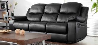 Leather Sofas Montreal Montreal Midnight Black Reclining 3 Seater Leather Sofa A Little