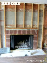 covering brick fireplace with marble wood drywall reface stacked