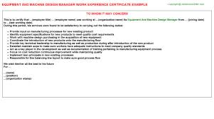 Interior Design Duties by Equipment And Machine Design Manager Work Experience Certificate