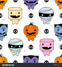 cute halloween background clipart seamless background cute halloween characters stock vector