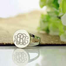 monogram initial ring sterling silver circle monogram signet ring products initials
