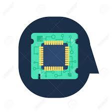 computer processor chip in human head symbol of programmer hard