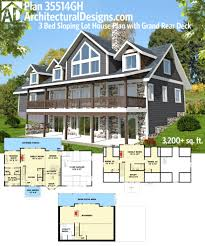 plan 35514gh 3 bed sloping lot house plan with grand rear deck
