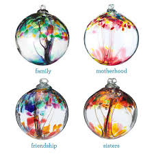 sentimental glass blown ornaments relationship tree globes