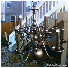 Spray Painting Brass Light Fixtures Up Cycled Chandelier The Diy