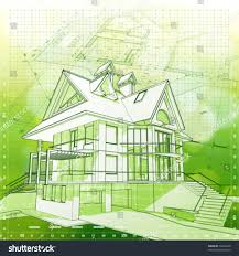 design house plans ecology architecture design house plans green stock vector