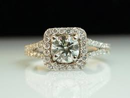 square cut halo engagement rings square halo engagement ring split shank 1 52ctw