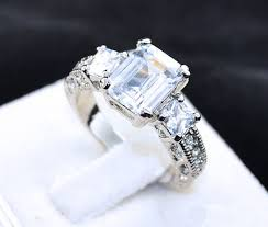 lab created engagement ring s emerald cut cz solitaire alternative engagement