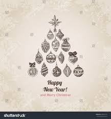 tree decorations set new year stock vector 226241614