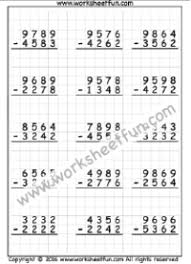 4 digit subtraction u2013 no regrouping u2013 three worksheets