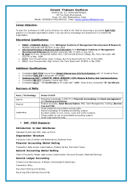 Reconciliation Accounting Resume Sap Dinesh Resume