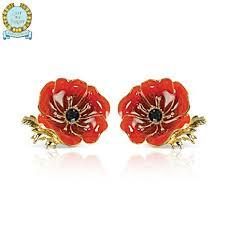 poppy earrings in flanders fields swarovski poppy earrings