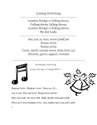 Linking And Action Verbs Worksheets Linking Verb Song Lyrics To London Bridge Is Falling Down And
