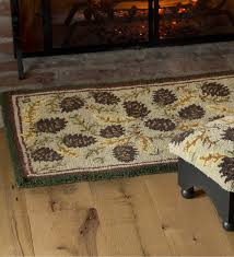 Fire Proof Hearth Rugs Wool Pine Cone Hearth Rug With Border 2 U0027 X 4 U0027 Accent Rugs For