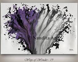 Home Design Ideas Nandita Purple Abstract Decorative Wall Art Large Artwork Fuchsia