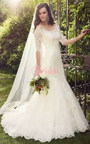 wedding dresses with sleeves slimming mermaid ivory lace scalloped wedding dress with
