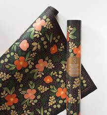 floral wrapping paper rolls midnight floral wrapping sheets by rifle paper co made in usa