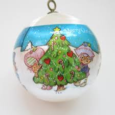 blue strawberry shortcake ornament 1981 silk