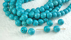 natural turquoise stone 10 stone beads real howlite turquoise 10mm round with dark brown