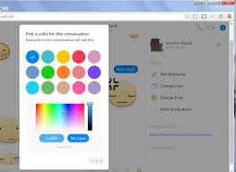 how to set facebook messenger chat color using a hex code or color