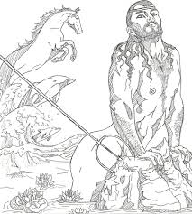 poseidon greek god drawing sketch coloring page