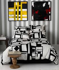 Linen Covers Gray Print Pillows White Walls Grey Black White Abstract Print Duvet Covers Sets With 4 Flanged