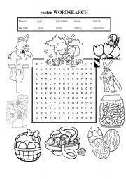 esl kids worksheets easter wordsearch