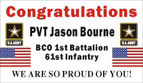 congratulations graduation banner 3ftx5ft personalized congratulations us u s army soldier basic