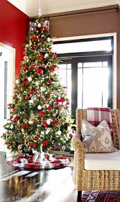 White Christmas Tree With Red And Gold Decorations Traditional U0026 Retro Fun Christmas Trees Our Fifth House