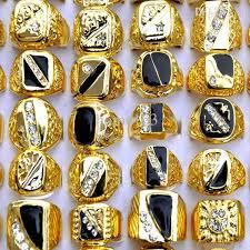 men gold ring 2015 fashion women mens gold rings white black enamel gold