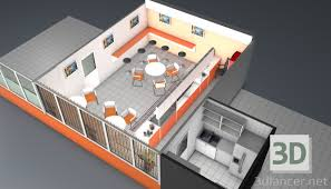3d model cafe download for free on 3dlancer net